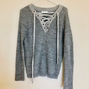Endless love lace up gray sweater
